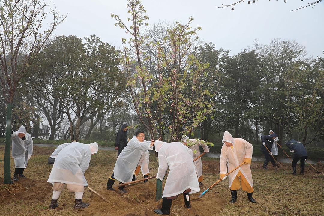 会长道慈大和尚一行参加普陀山2021年春季义务植树活动