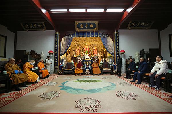 蒙古国赛音诺门寺住持纳尔贵赛布彦一行参访普陀山